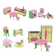 Phenovo Lot 16 Pieces Wooden Dollhouse Miniatures Furnitures Puzzle Models for Baby's Room Kitchen Bathroom Decoration Children Kids Toys
