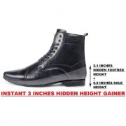 BXXY 3 Inch (7.6 cm) Height Increasing Formal And Casual Faux Leather Lace-up Boots for All Occasions( Instant 3 Inches