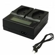 Ismartdigi LPE4 LCD Cargador Dual + Cable de la UE para Canon LP-E4-Negro