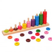 Colourful Wooden Teaching Tool Abacus Mathematic Number Counting Beads Wood Board Preschool Educational Toys for Kids