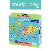 Mudpuppy Puzzle podłogowe Jumbo Nasz Świat 25 elementów 2+ - Mapa Świata dla maluchów,