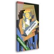 Juan Gris: Újságpapír és gyümölcstál (20x30 cm, Vászonkép )