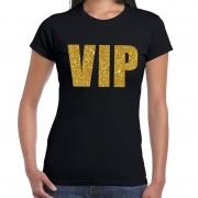 Shoppartners VIP tekst t-shirt zwart met gouden glitter letters dames