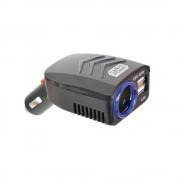 Incarcator auto Carpoint pentru USB de la priza auto 12V/24V, tensiune iesire 5V DC cu 2 iesiri USB de 4.8A, culoare negru Kft Auto
