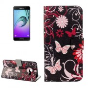 Samsung Galaxy A5 Case, (2017) / A520 Black Butterfly Pattern Litchi Texture Horizontal Flip Leather Case with Holder & Card Slots & Wallet