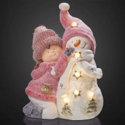 LED girl figure with snowman, battery-powered