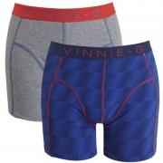 Vinnie-G boxershorts Flame Blue Print Grey 2-pack S