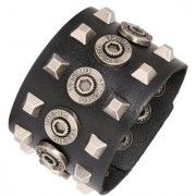 ZIVOM Stylish Hexagon Funky 100% Genuine Handcrafted Rhodium Black Adjustable Leather Bracelet Boys