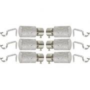 Hans Enterprise Silver Set of 6 Stainless Steel Single Curtain Rod Bracket pack of 12