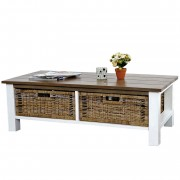 Couchtisch Tula, Wohnzimmertisch Beistelltisch Holztisch, 38x112x52cm 2 Körbe ~ Variantenangebot