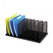 Mesh Desk Organizer, Eight Sections, Steel, 19 1/2 X 11 1/2 X 8 1/4, Black