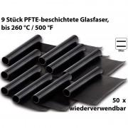 Rosenstein & Söhne Dauer-BBQ-Grillmatte & Antihaft-Bratfolie aus Glasfaser, 9 Stück
