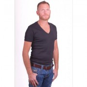 Garage T-Shirt Deep V-Neck Semi bodyfit Black ( art 0304)
