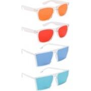 NuVew Wayfarer, Retro Square Sunglasses(Orange, Red, Blue, Green)
