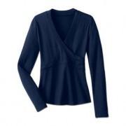 'Overslag'-blouse, lange mouw, 44 - marine