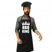 Bellatio Decorations BBQ King barbecueschort zwart voor heren met zwarte koksmuts - Feestschorten