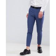 Moss London - Blåa beskurna kostymbyxor i skinny fit - Blå lagun