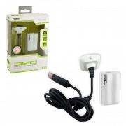 Kit Carga Y Juega Para Xbox 360 Bateria Y Cable De Carga KMD-Blanco