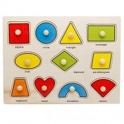 Joyeee 11 Pcs Wooden Matching Pegged Puzzles - Creative Wood Educational Shape and Color Puzzle - Perfect Christmas Gift Idea