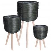 Kwietnik stojak DONICZKA drewniana pleciona osłonka podstawa 3 sztuki