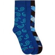 Soxytoes 2's Blues Multi-Coloured Cotton Calf Length Pack of 3 Pairs for Men Formal Socks (SOSN0024)