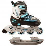 Nijdam patins para gelo 31-34 branco/prateado/azul 52SZ