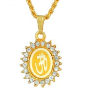 MissMister Gold Plated CZ Studded OM Pendant Chain Necklace Jewellery for Women and Men
