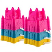 """Novelty Kids Assorted 7"""" Sand Castle Bucket Set with Shovels 6 Pack 