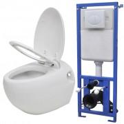 vidaXL Toaletă suspendată cu rezervor încastrat, aspect ou, ceramică, alb
