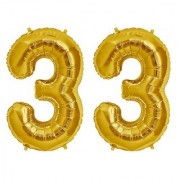 De-Ultimate Solid Golden Color 2 Digit Number (33) 3d Foil Balloon for Birthday Celebration Anniversary Parties