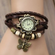 Fashion STAR Vintage Leather Quartz Watch Women Ladies Student Wrist Watch BROWN 6 month warranty