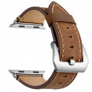 Crazy Horse Skin Genuine Leather Coated Smart Watch Band for Apple Watch Series 5/4 44mm / Series 3/2/1 42mm - Brown