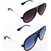 New Zovial Aviator Sunglasses(Grey, Blue)