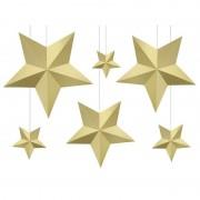 Bellatio Decorations 12x DIY kerstboom hangers gouden sterren