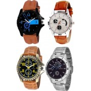 ADIXION 1331339519sl039519glc1nla14sl03sma1 Four Watch Combo Man Stainless Steel Watches with Genuine Leather Strep Watch - For Boys