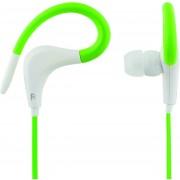 STREETZ HL-289, Sportheadset oordoppen met microfoon, 3,5 mm-connector, oorclip, antwoordknop, steeksleutel, 1,2 m kabel, groen / wit