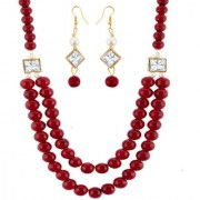 Om Jewells Gold Plated Fashion Jewellery Maroon Beads Necklace Set with Earrings Studded Crystal for Girls NL1000570