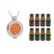 Aesthetics Glow-in-the-dark Essential Oil Diffuser Necklace with 10 Color Refill Pads Vine With 8-Pack Oils Silver