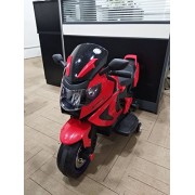Kidbee 12V Electric Powered Motorcycle Bike Toy with Training wheels, Remote Control, Led Lights and AUX Plug - Red
