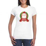 Shoppartners Kerst t-shirt met Kerstman wit Merry Christmas voor dames