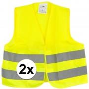 Merkloos 2x Gele veiligheidsvesten voor kids