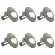 vidaXL Vonkajšie nástenné LED svetlá 6 ks, 5 W, strieborné, okrúhle