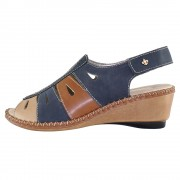 Sandale piele naturala dama - bleumarin, Rieker - 66187-14-Blue-combination