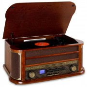 Auna Belle Epoque1908 Minicadena con tocadiscos USB CD MP3 Bluetooth