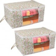 Pretty Krafts Underbed Storage Bag, Storage Organizer, Blanket Cover with Side Handles F1295_Multi2(Multicolor)
