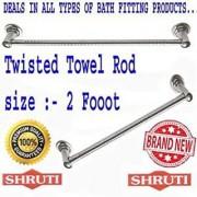 SHRUTI (Nikku) Twisted Stainless Steel Bathroom Towel Rod / Towel Stand / Towel Holder / Towel Rack for routine use of Bathroom Accessories - 2 Foot Long (1611)