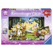 Puzzle Alba ca zapada si cei sapte pitici, 2x24 piese Ravensburger