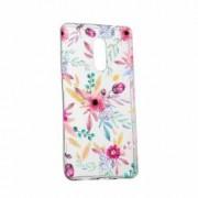 Husa Silicon Transparent Slim Happy Flowers Sony XZ2