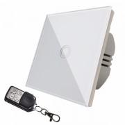 Intrerupator touch simplu + telecomanda RF, cu panou de sticla, alb