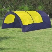 Палатка за къмпинг за 6 човека от полиестер, синьо и жълто
